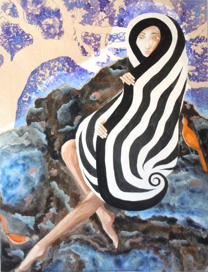 "Serpentine Emerging (c) 2016 36"" x 48"" gouache/ink on wood"