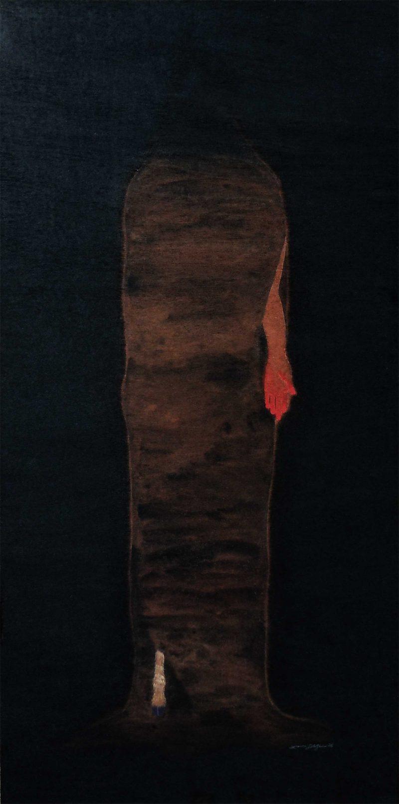 "The Cave (c) 2016 24"" x 48"" gouache/charcoal/milk on reclaimed wood veneer"