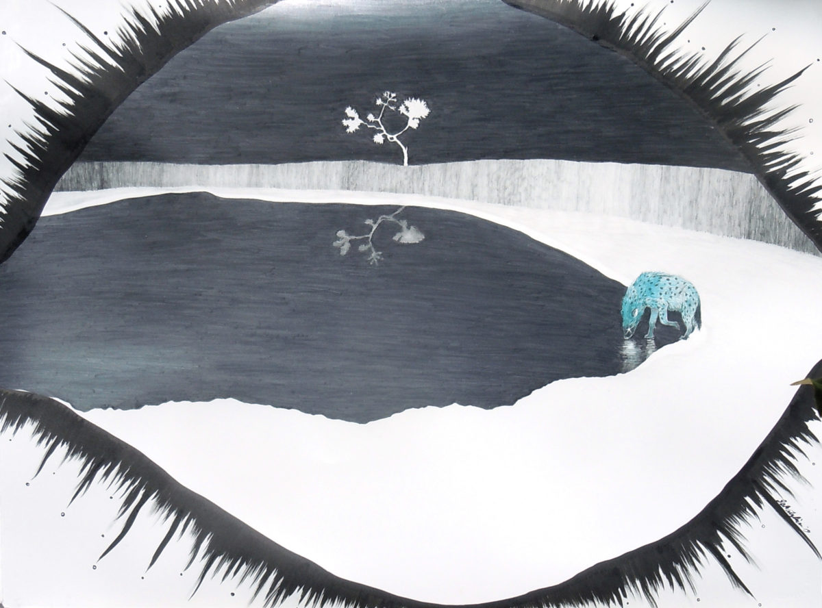 """Fiercely Alone: Spotted Hyena. 22"""" x 30"""". graphite/gouache/ink on paper."""