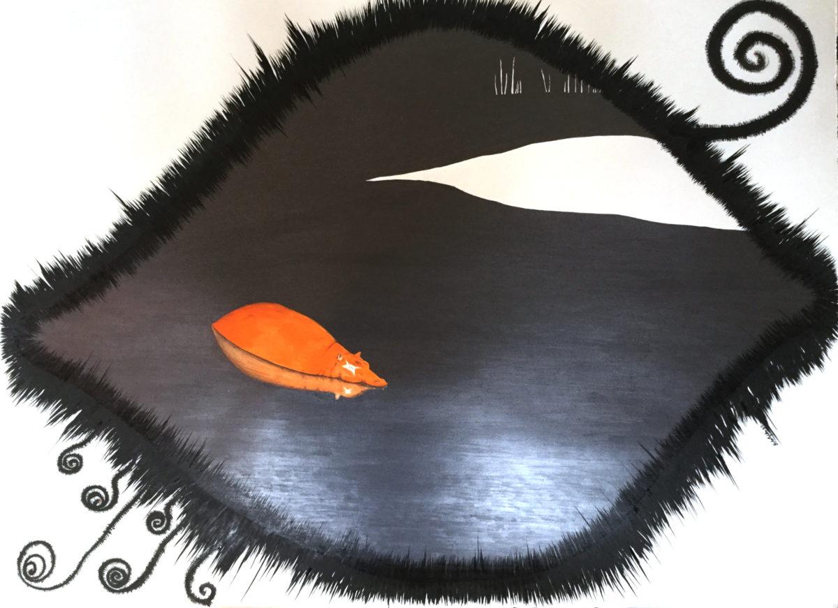 "Deceptively Calm: Hippopotamus. 22"" x 30"". graphite/gouache/ink on paper."