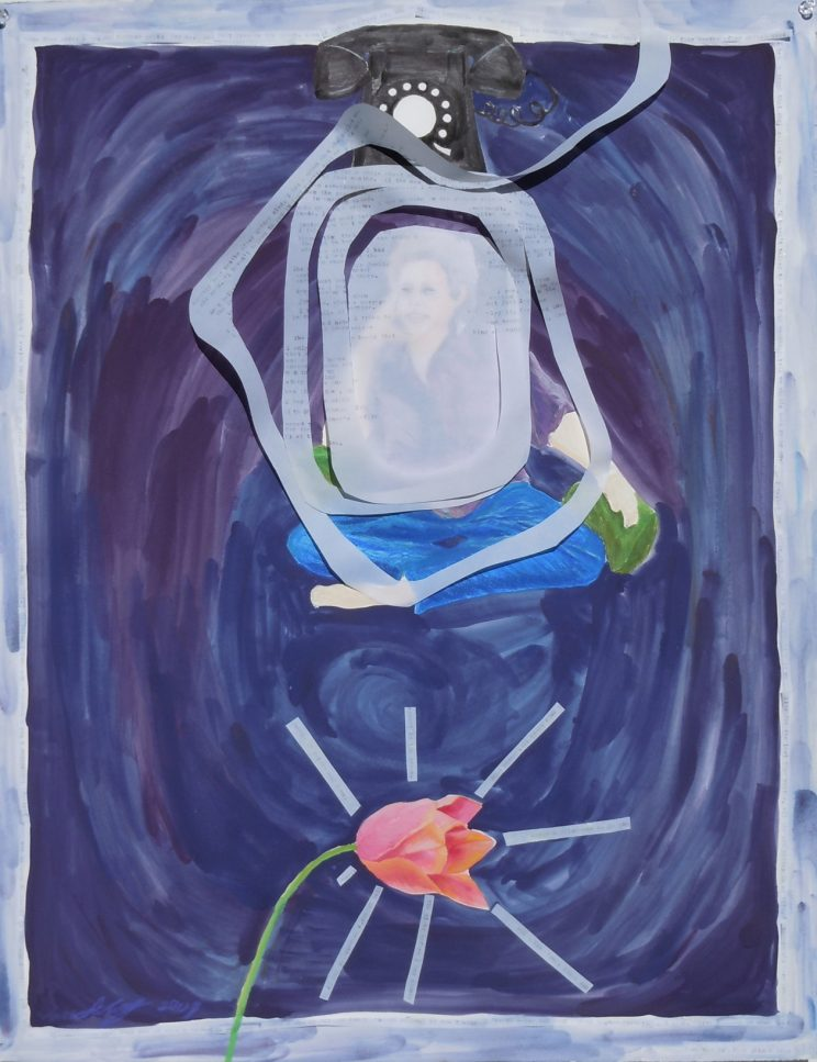 """Shiner, Four Months Later (c) 2011 22""""x 30"""" gouache/mixed media on paper"""