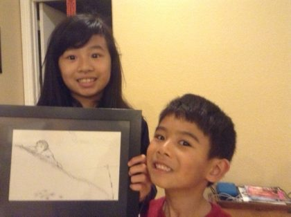 Emily and Nicholas with my drawing Sibley